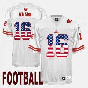 US Flag Fashion Russell Wilson Wisconsin Jersey For Men White #16 222084-896
