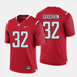 For Men's #32 Justin Goodwin Rutgers Jersey College Football Red 869036-447