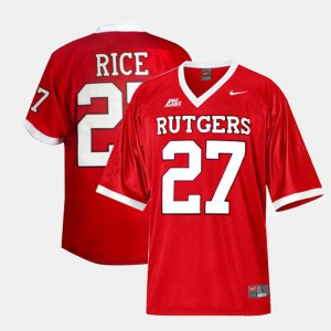 College Football #27 Ray Rice Rutgers Jersey Red For Men 690489-640