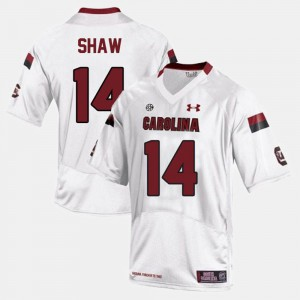 Men's College Football White #14 Connor Shaw South Carolina Jersey 728612-897