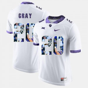 Mens White #20 Deante Gray TCU Jersey High-School Pride Pictorial Limited 454357-466