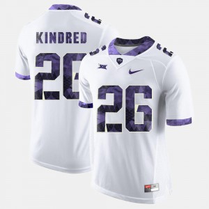 Derrick Kindred TCU Jersey White For Men #26 College Football 289107-236