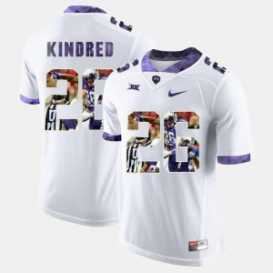 Men's #26 White Derrick Kindred TCU Jersey High-School Pride Pictorial Limited 272080-266