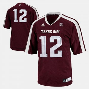 Youth(Kids) #12 Texas A&M Jersey College Football Burgundy 305495-214