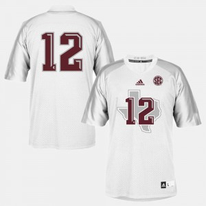 For Kids White College Football #12 Texas A&M Jersey 937143-585