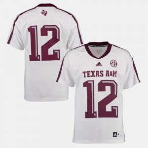 White For Men's College Football #12 Texas A&M Jersey 650636-220