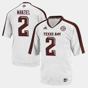 For Men's #2 White Johnny Manziel Texas A&M Jersey College Football 906207-435