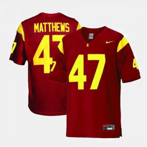 Red College Football For Men's Clay Matthews USC Jersey #47 464464-521