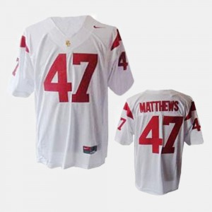#47 Clay Matthews USC Jersey White For Men's College Football 811068-529