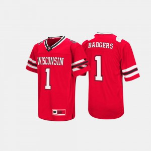Men's Red Wisconsin Jersey #1 Hail Mary II 188511-524