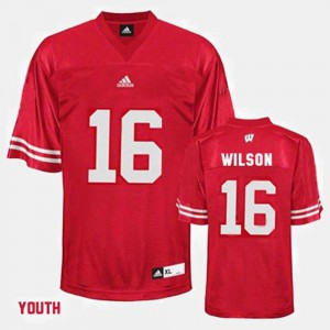 Red #16 Russell Wilson Wisconsin Jersey Kids College Football 248732-670