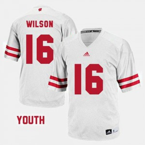 Kids Russell Wilson Wisconsin Jersey White #16 College Football 156626-694