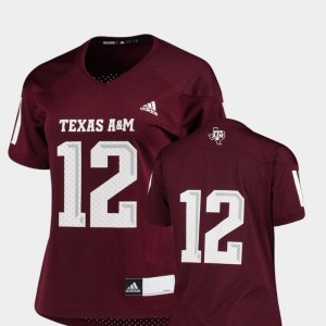 Replica Texas A&M Jersey Ladies College Football Maroon #12 389706-610