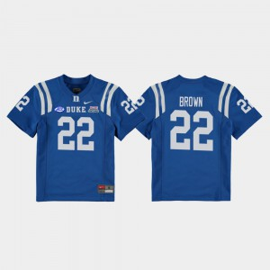 College Football Game #22 For Kids 2018 Independence Bowl Royal Brittain Brown Duke Jersey 877227-971