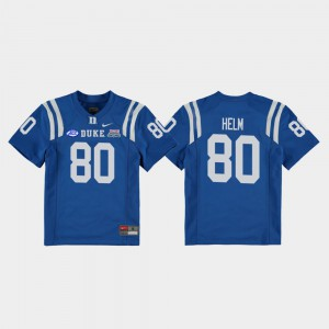 Youth(Kids) College Football Game 2018 Independence Bowl #80 Royal Daniel Helm Duke Jersey 356727-262