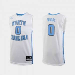 Replica College Basketball White Seventh Woods UNC Jersey Kids #0 402174-628