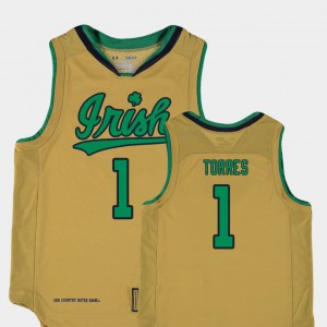 Replica #1 College Basketball Special Games Austin Torres Notre Dame Jersey Kids Gold 586510-796