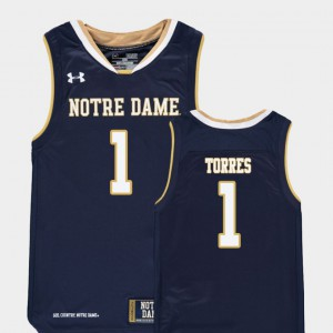 Youth #1 Navy Austin Torres Notre Dame Jersey Replica College Basketball 971785-475