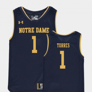 Navy #1 For Kids Replica College Basketball Special Games Austin Torres Notre Dame Jersey 768585-156