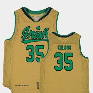 Replica Gold Bonzie Colson Notre Dame Jersey #35 College Basketball Special Games Youth 161249-153