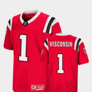 Colosseum Youth #1 Red Wisconsin Jersey Foos-Ball Football 216439-347