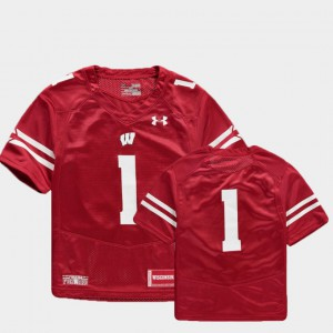 Red College Football Youth Wisconsin Jersey Finished Replica #1 329041-809